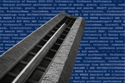 The Campanile stretches across a blurred background of code