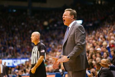 Kansas coach Bill Self exclaims as he stands in front of the Kansas bench in Allen Fieldhouse
