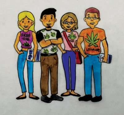 A cartoon illustration of four people stand together with legalize marijuana shirts