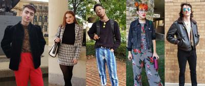 Five people show off their outfits to the camera in a photo collage