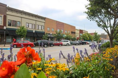 Flowers bloom on Massachusetts Street across from Delaney's and what used to be Tonic (copy)