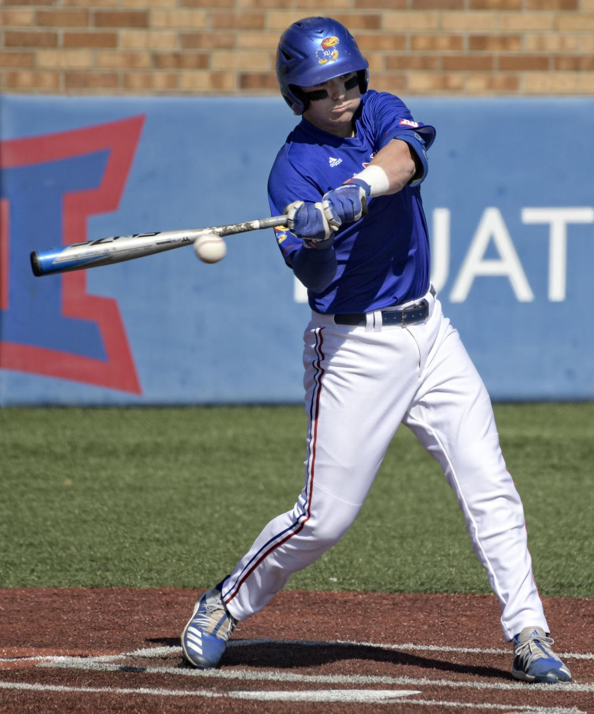Anthony Tulimero swings to hit the baseball in Hoglund Ballpark