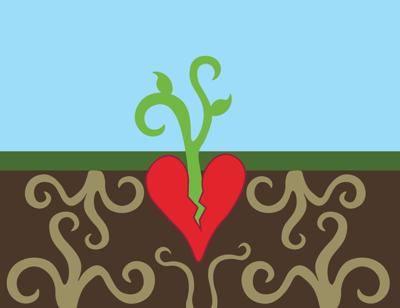 An illustrated broken heart sprouts a little plant in a clear sky as roots fill the ground underneath