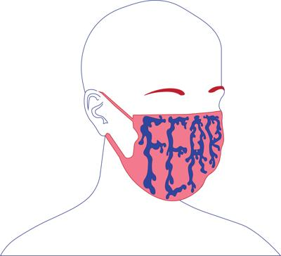An illustrated outline of a person wears a hospital mask with the word 'fear' sprawled across the face