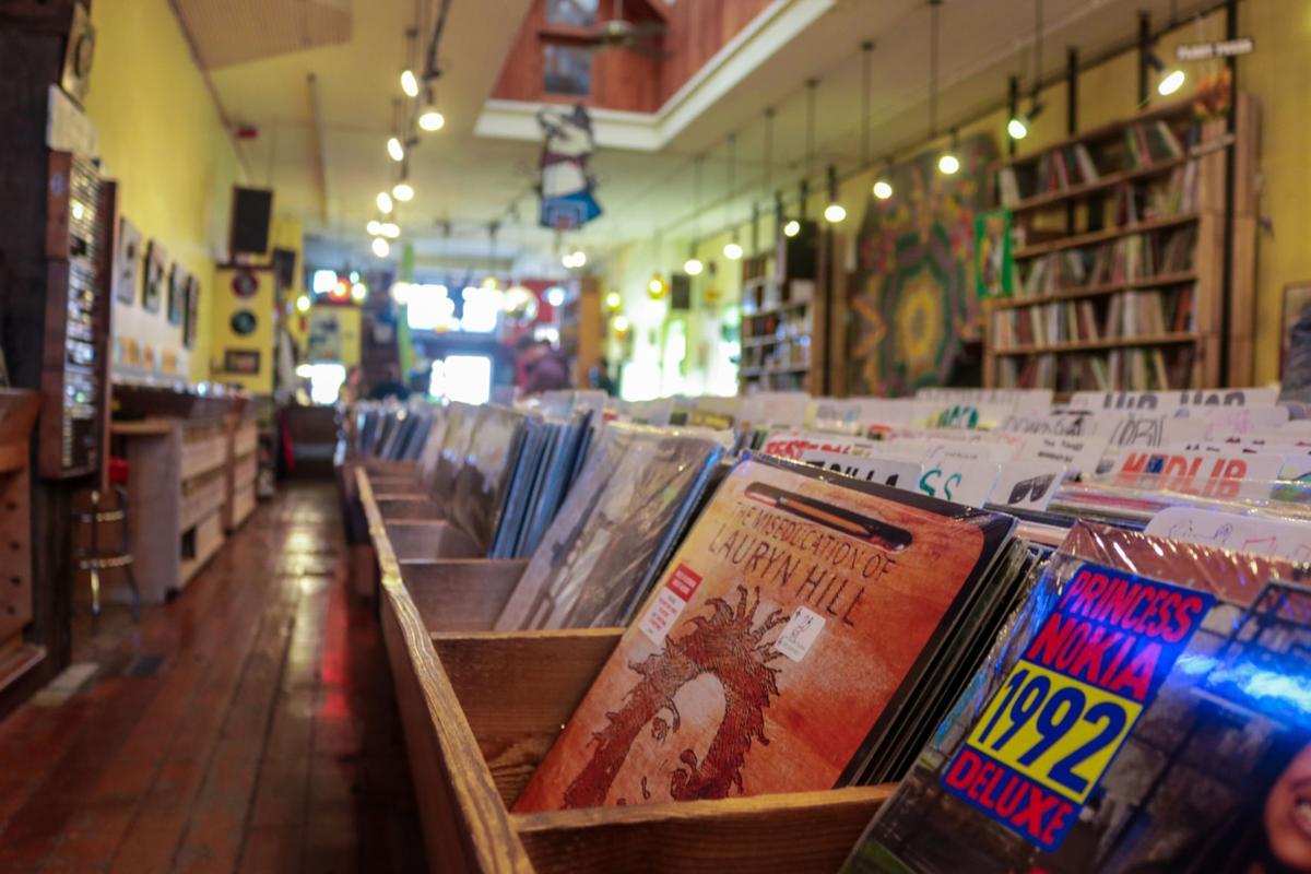 Inside of Love Garden Sounds, a record store on Massachusetts Street