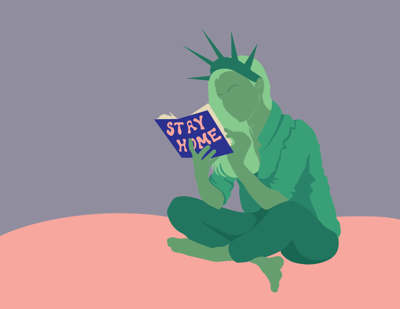 An illustrated Lady Liberty with her hair down sits while reading a book that says 'Stay Home' on the cover