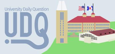 """A graphic features the words """"University Daily Question"""" over a drawing of the K.U. campus"""