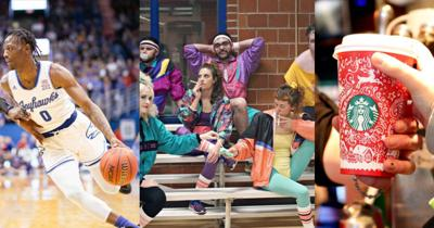 A collage features a photo of a K.U. basketball player, a garage band, and a Starbucks coffee cup