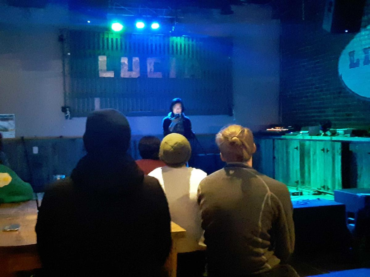 """Yee-Lum Mak reads the first chapter of the fan fiction,""""Sonic High School"""" on a stage at Lucia Beer Garden & Grill"""