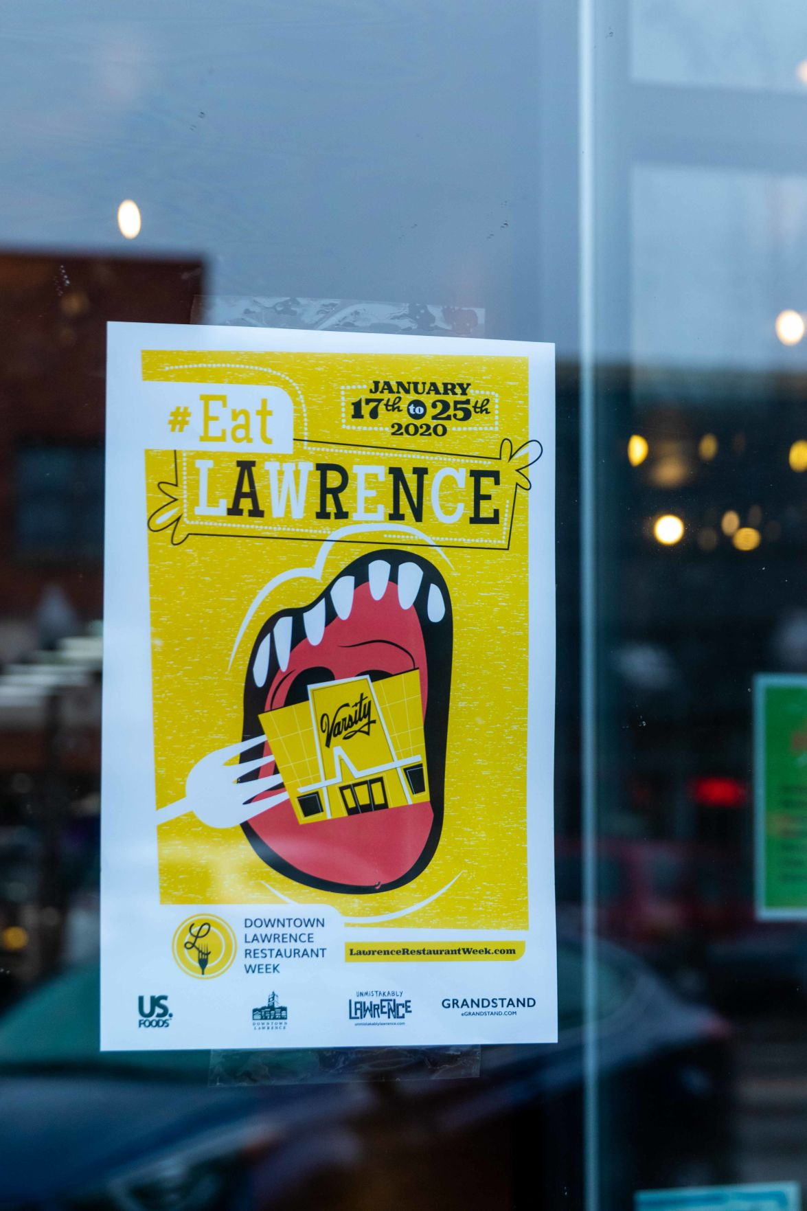 A sign advertises Downtown Lawrence Restaurant week for Jan. 17 to 25