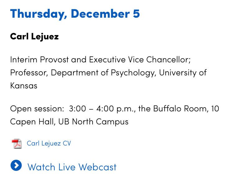 A screenshot of the University at Buffalo provost search website says Lejuez is schedule to give a presentation Thursday