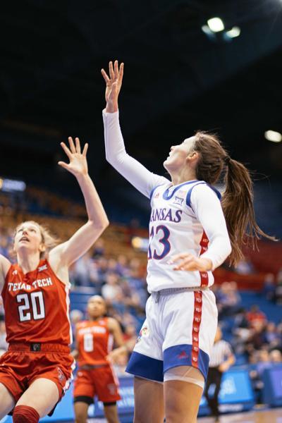 Freshman guard Holly Kersgieter shoots the ball.