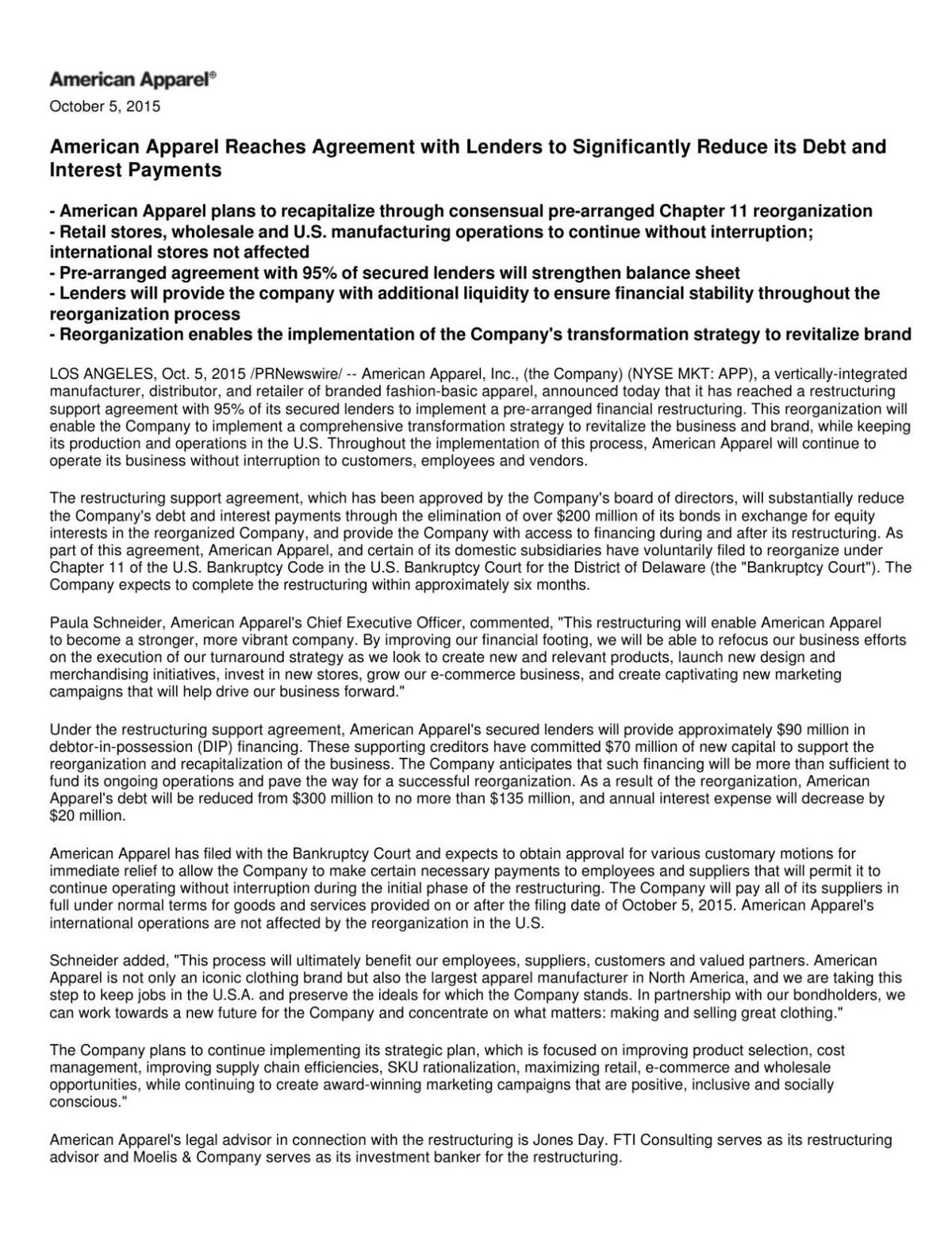 American Apparel press release Arts Culture – Marketing Consulting Agreement