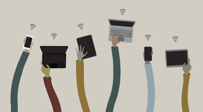 OPINION COPY Six outstretched hands hold laptops, smartphones and tablets all attempting to connect to a wifi signal (copy)