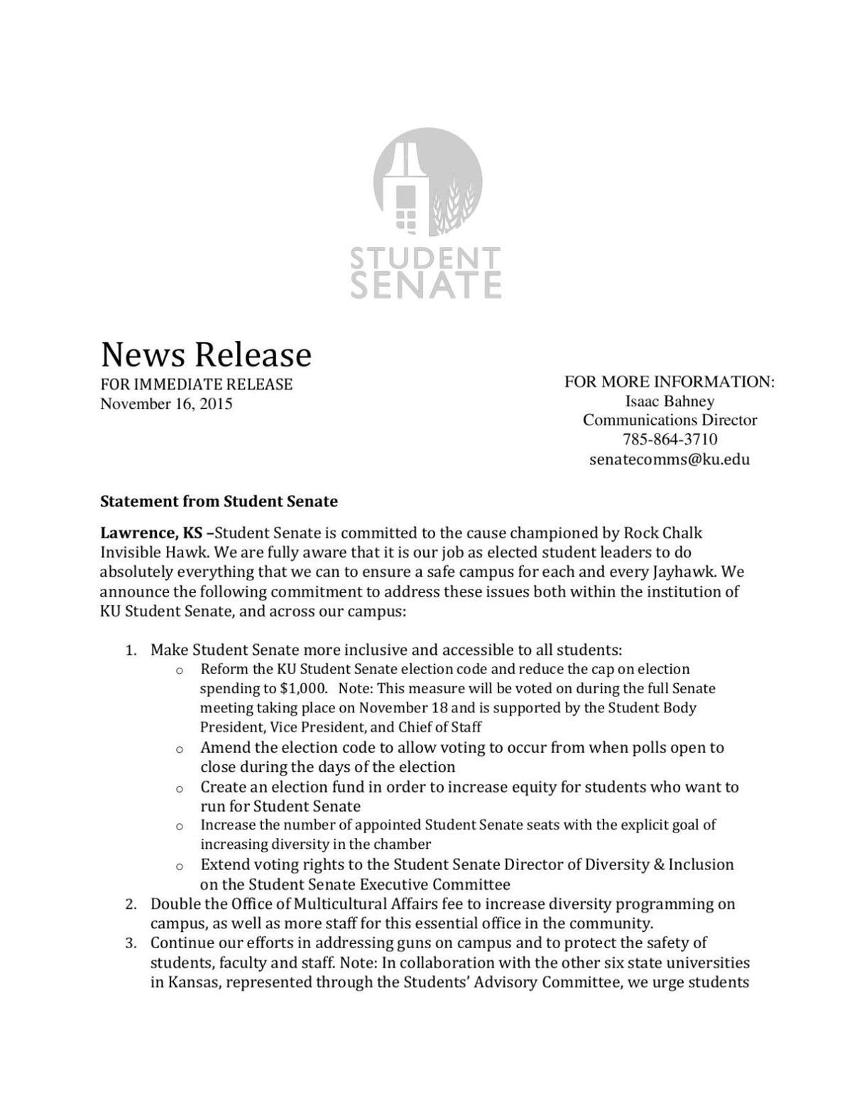 Student Senate statement Nov. 16