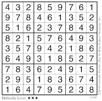 Sudoku answers Nov. 7