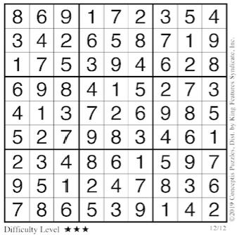 Sudoku answers Dec. 12