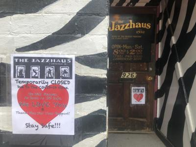 Jazzhaus put a sign with a heart on its door and wall announcing its temporary closure due to COVID-19
