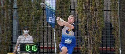 Gleb Dudarev throwing at NCAA Championships