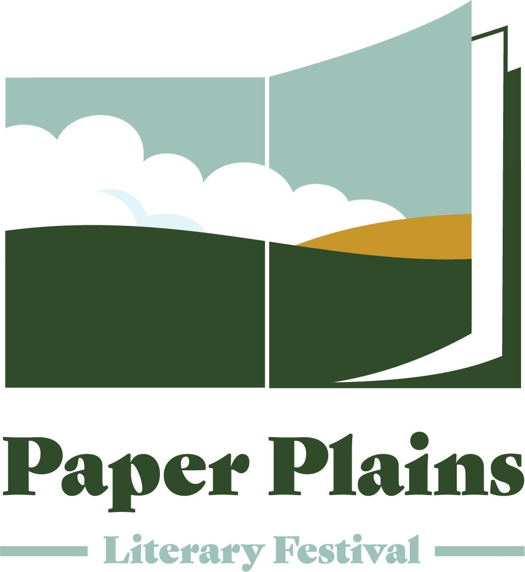 An illustrated open book with a cloudy horizon across the pages sits above the words 'Paper Plains Literary Festival'