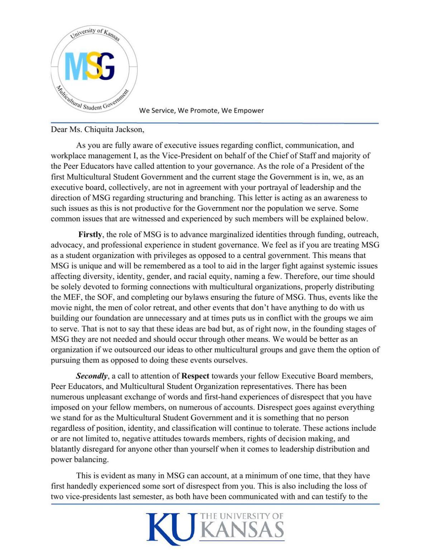 Letter for Impeachment