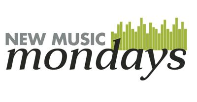 """A graphic displays the words """"New Music Mondays"""" over an image of volume bars (copy)"""