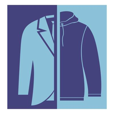 the graphic illustrates half a suit jacket and half a sweatshirt