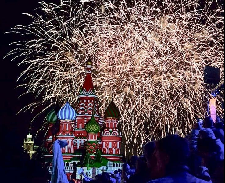 Fireworks explode over Saint Basil's Cathedral in Moscow