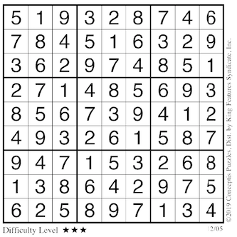 Sudoku answers Dec. 5