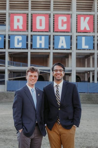 Grant Daily and Apramay Mishra stand in front of Memorial Stadium