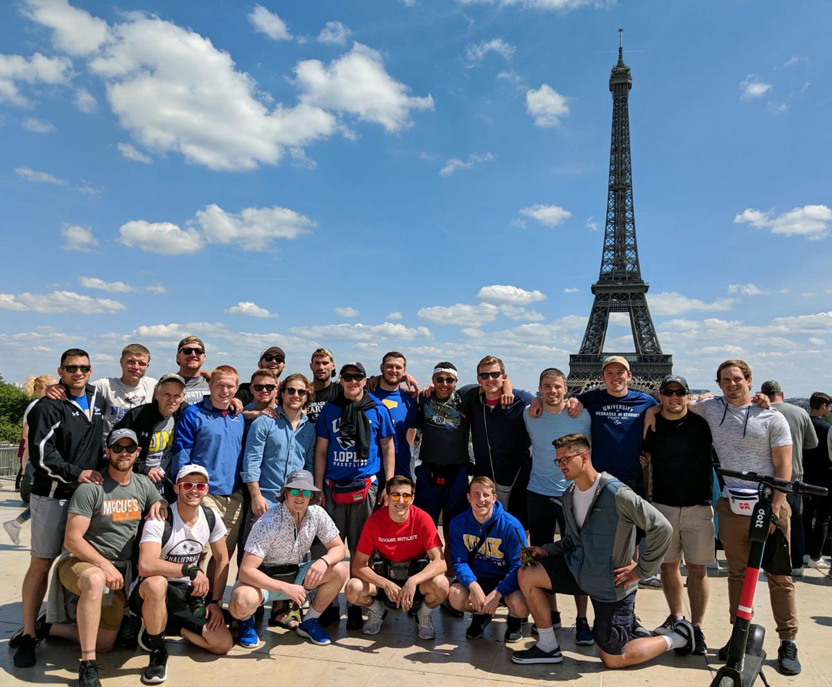 Members of the UNK wrestling program in France