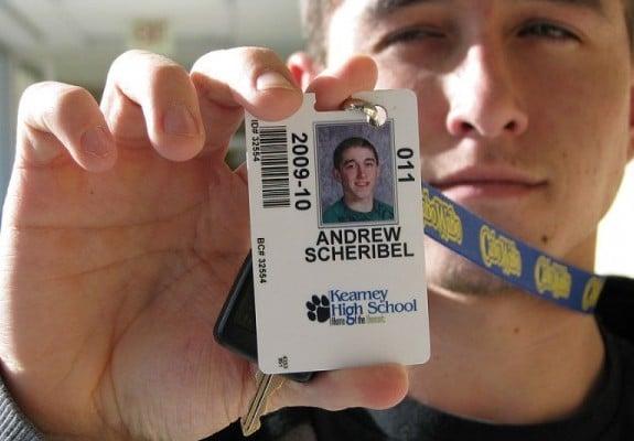khs students using now mandatory identification cards lanyards to