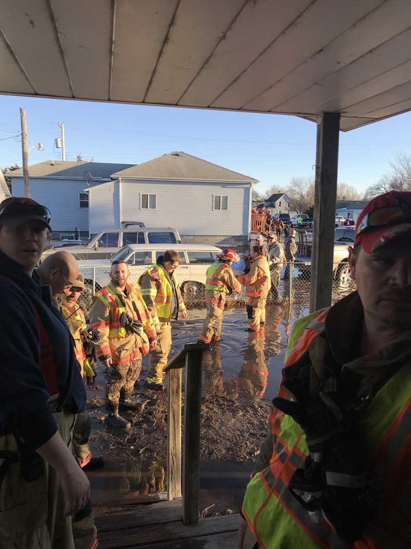 Gibbon Volunteer Fire Department flooded house