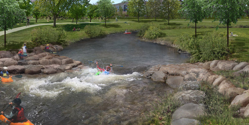 Whitewater park drop feature