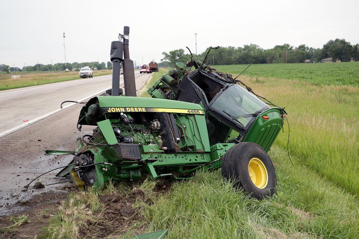 Destroyed John Deere Tractor