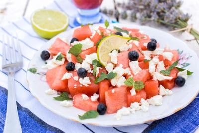 Watermelon and cheese salad