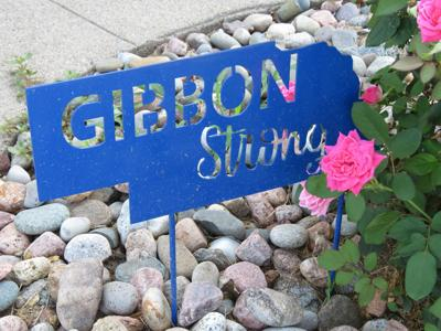 Gibbon Fire Hall, Gibbon Strong sign.JPG