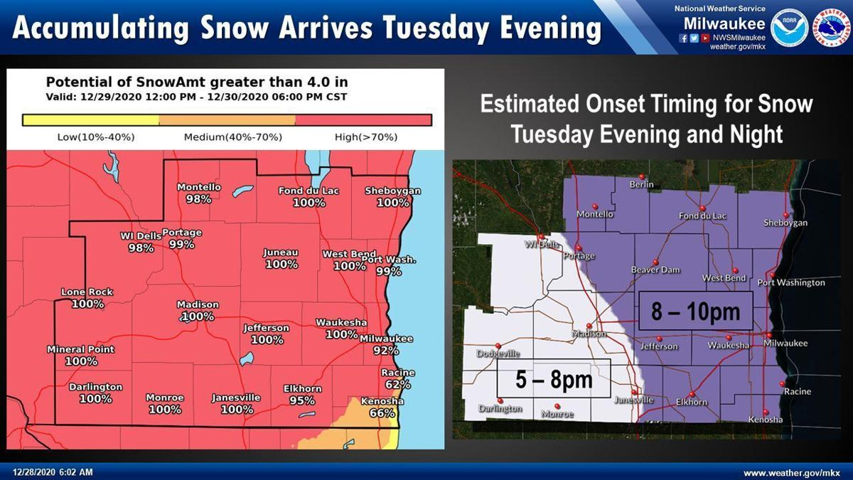 4 inches snow chances, snow start times by National Weather Service