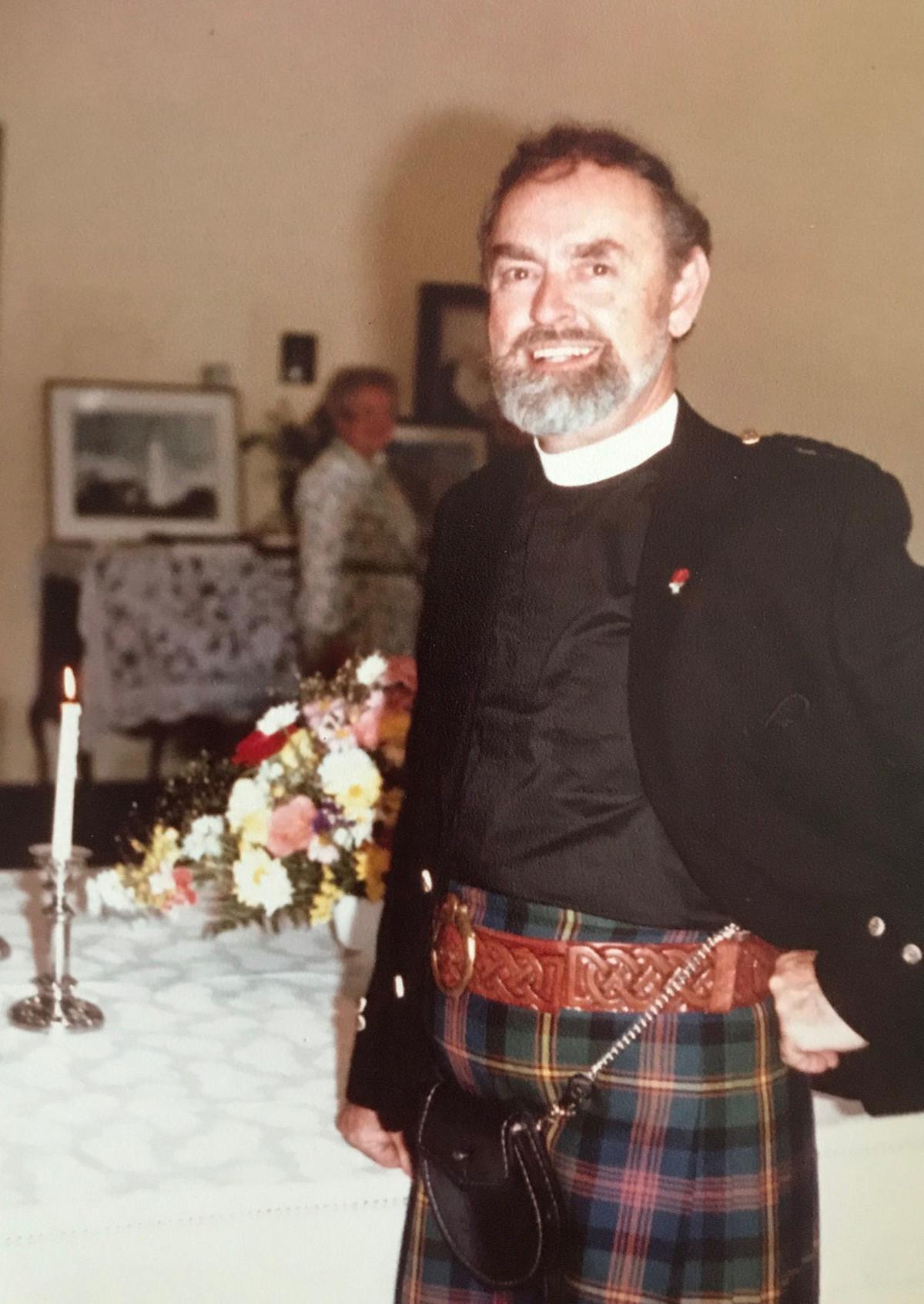 Father Mac in kilt