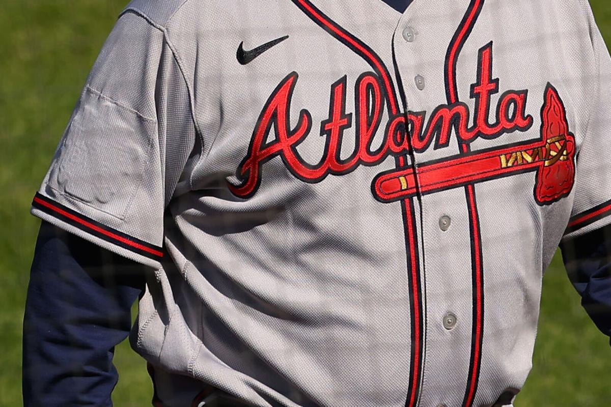 The All-Star Game logo is covered up on the right sleeve of manager Brian Snitker #43 of the Atlanta Braves during a baseball game against the Philadelphia Phillies at Citizens Bank Park on April 4, 2021 in Philadelphia, Pennsylvania.