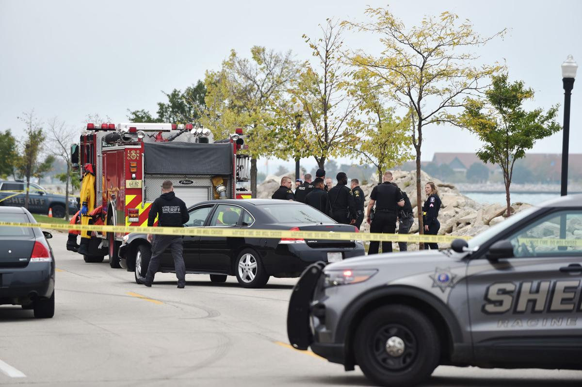 Racine area first responders congregate along Pershing Park Drive
