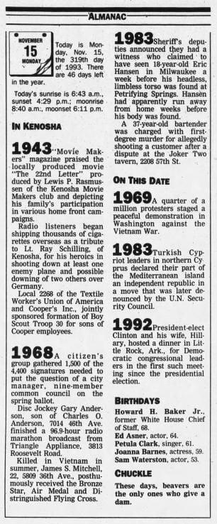 15 Nov 1993, Mon ·  Kenosha News (Kenosha, Wisconsin) ·  Page 2.pdf