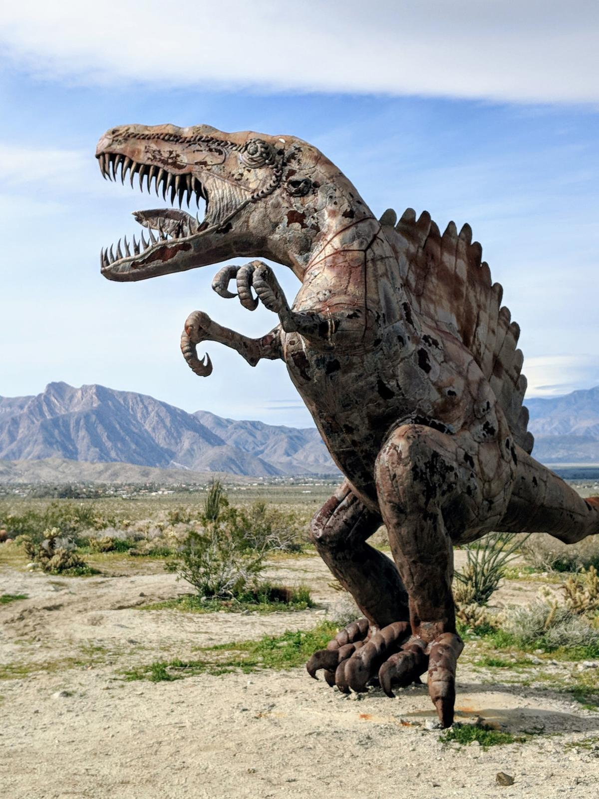 Dinosaur sculpture in Anaz State Park