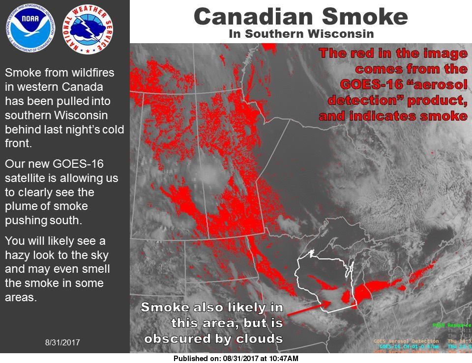 Hazy skies, smoke coming from Canadian wildfires