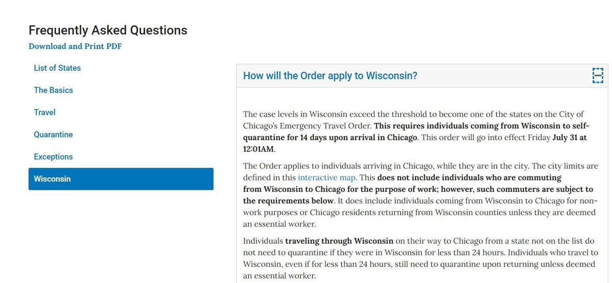 CHICAGO TRAVEL ORDER