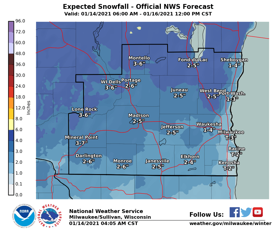 Expected southern WI snowfall by National Weather Service