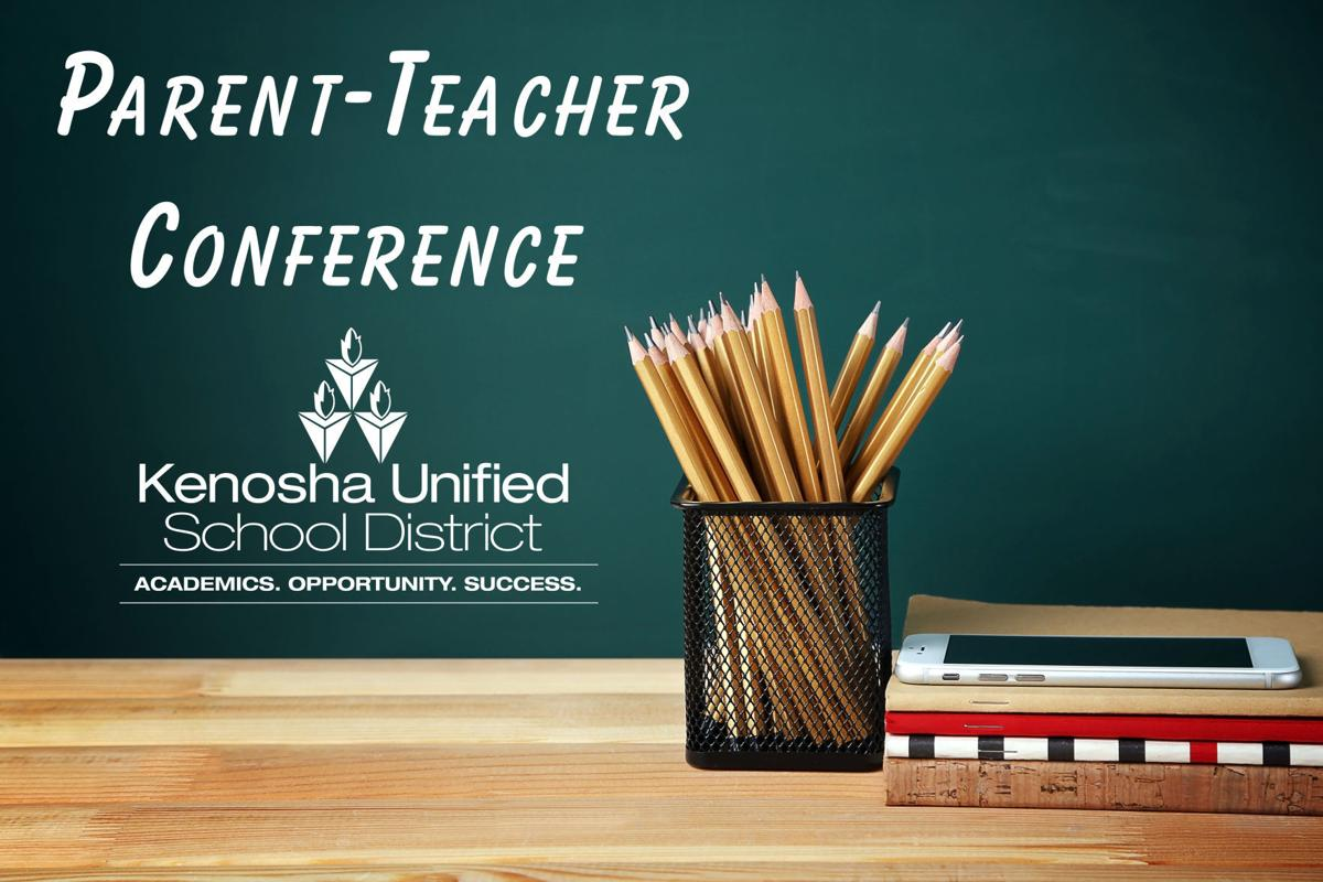 Stationary and smartphone on wooden table. Text PARENT-TEACHER CONFERENCE on chalkboard background. School concept.