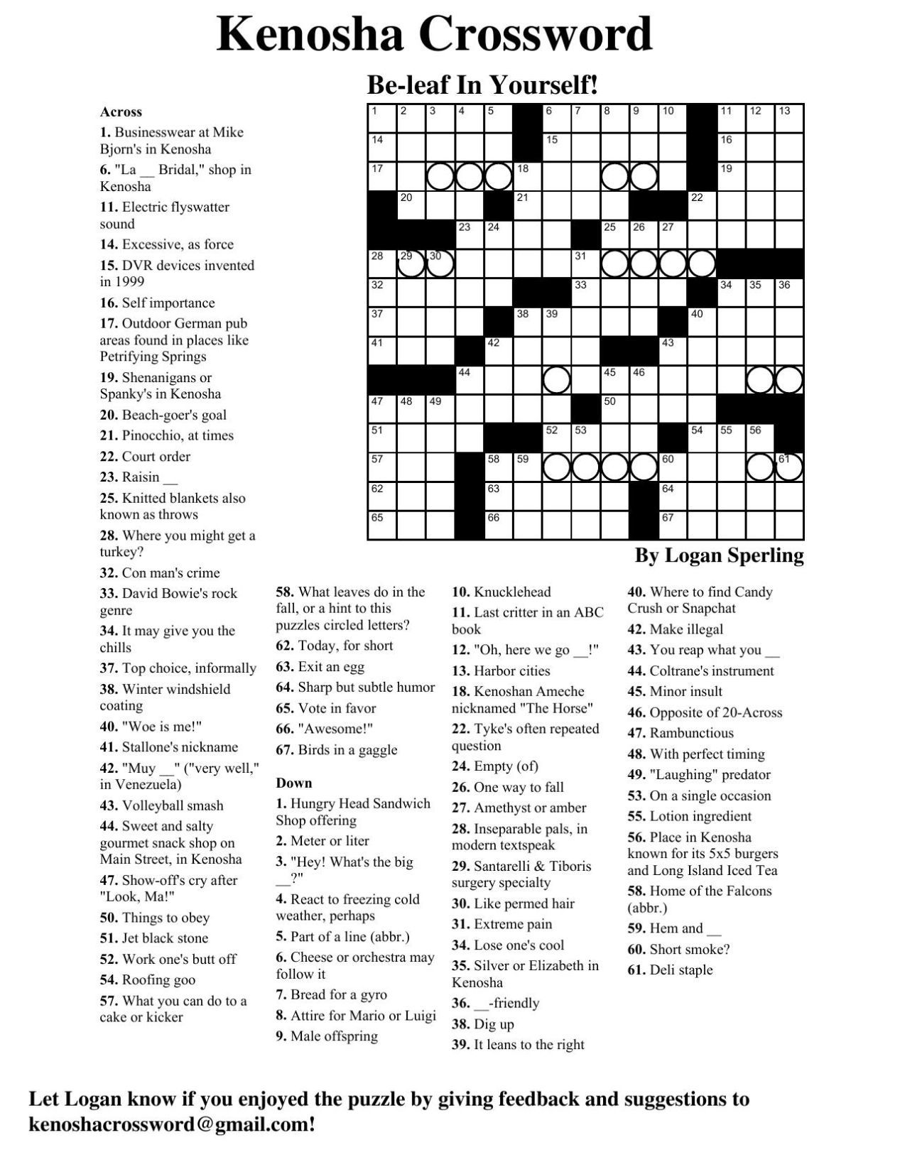 Bring on yourself crossword