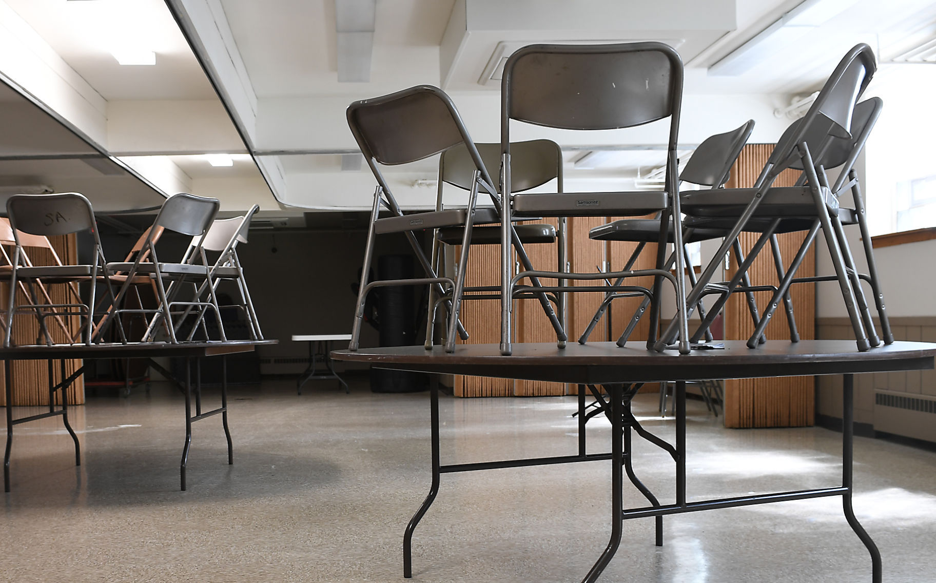 Chairs Are Placed On Top Of Tables In The Salvation Armyu0027s Dining Room To  Dry The Floors That Took In Water As A Result Of Wednesdayu0027s Heavy Rains.