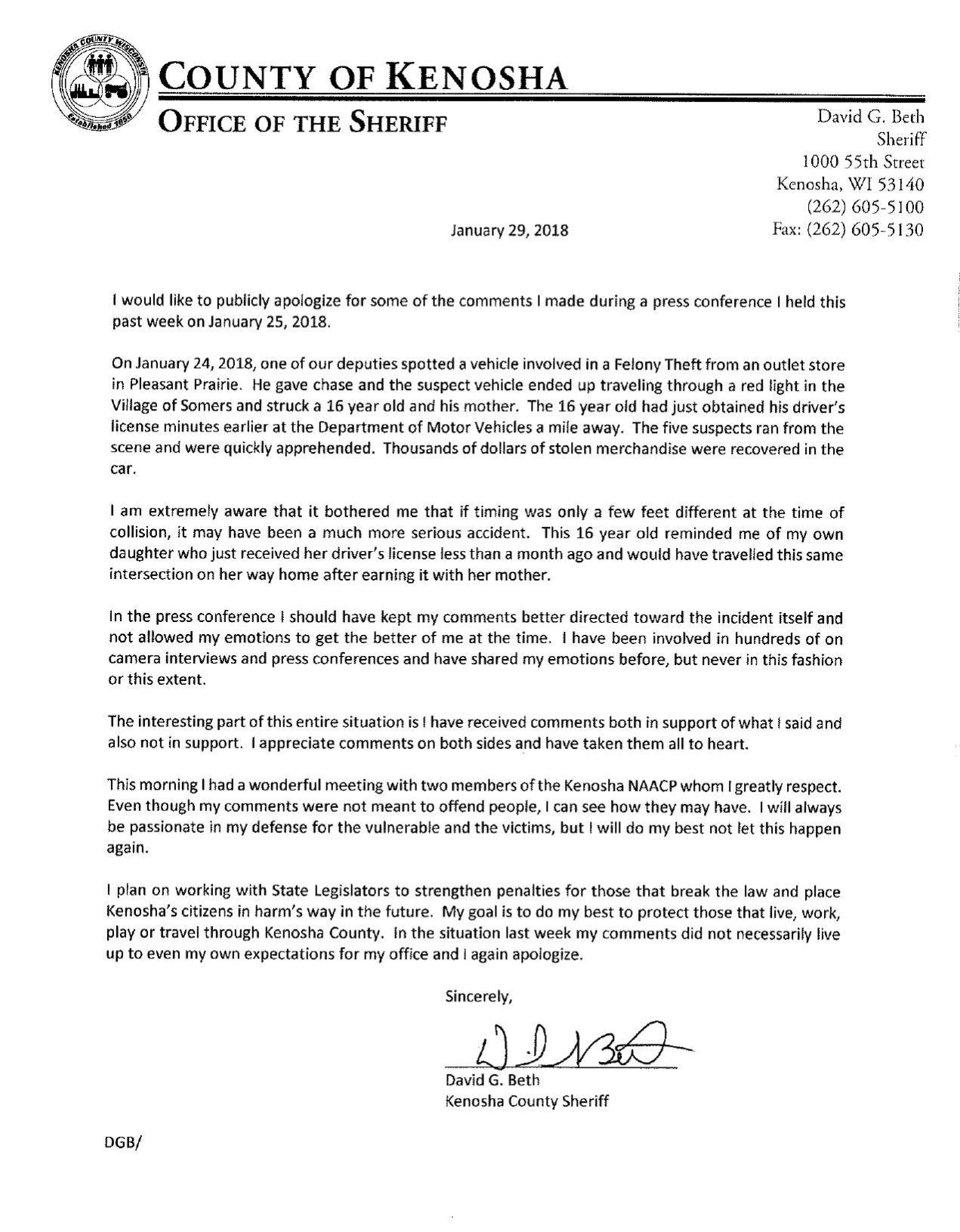 Sheriff Beths Apology Letter kenoshanewscom